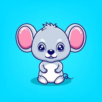 Hand getekende schattige muis pictogram cartoon vectorillustratie