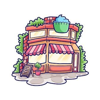 Hand getekende schattige taart winkel illustratie ontwerp vector