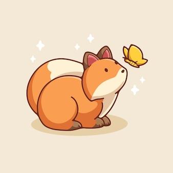 Hand getekende schattige vos illustratie ontwerp vector