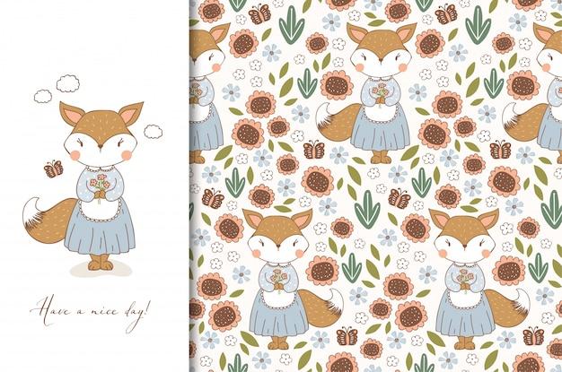 Hand getekende schattige vos in schort karakter. kinderen dieren kaart en naadloze bloemmotief. cartoon afbeelding.