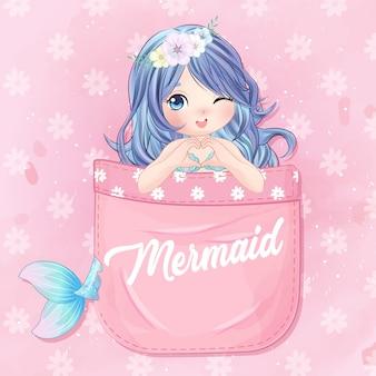 Hand getekende schattige zeemeermin zitten in de zak