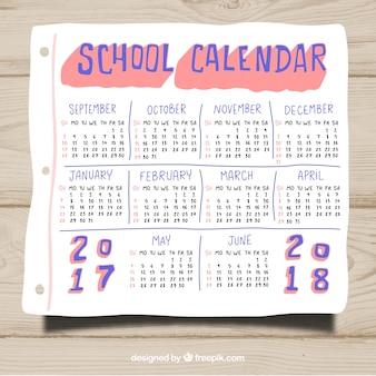 Hand getekende school kalender sjabloon