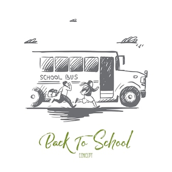 Hand getekende schoolbus met leerlingen concept schets.