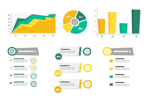 Hand getekende secuencial data visualisatie infographics
