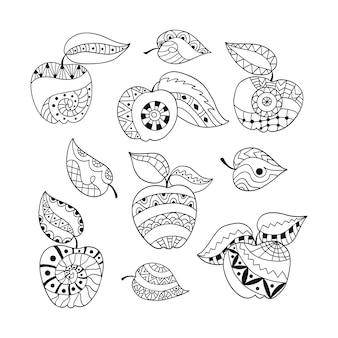 Hand getekende set appels en bladeren.