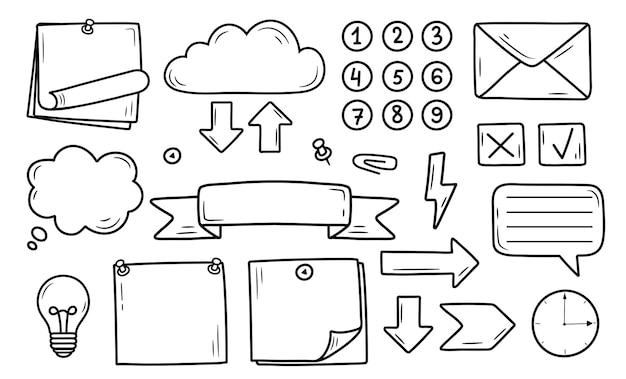 Hand getekende set bullet magazine element, sticker, planner label. doodle schets doodle stijl.