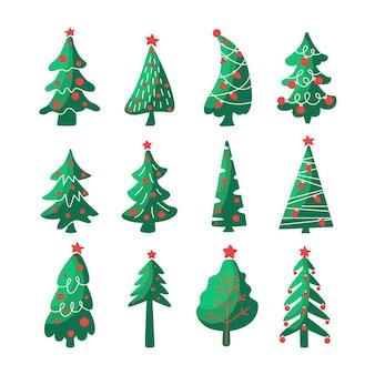 Hand getekende set kerst symbool bomen, sparren, dennen met slingers, ster, gloeilamp geïsoleerd op een witte achtergrond. platte vectorillustratie. ontwerp voor wenskaart, uitnodiging, banner.