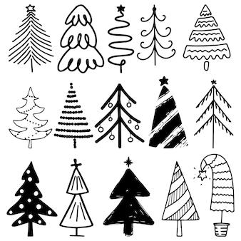 Hand getekende set kerstbomen. vakantie achtergrond.