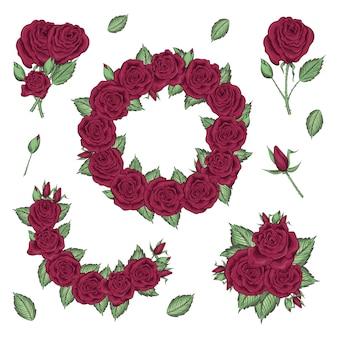 Hand getekende set rozen, rozenknoppen en krans