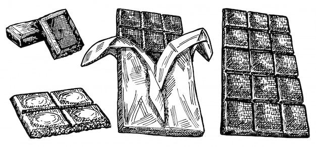 Hand getekende set van chocolade. hand getrokken chocoladereep in stukken gebroken, smakelijke realistische tekening. chocolade in een wikkel en zonder. illustratie van chocobar op witte achtergrond.