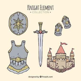 Hand getekende set van ridderelementen