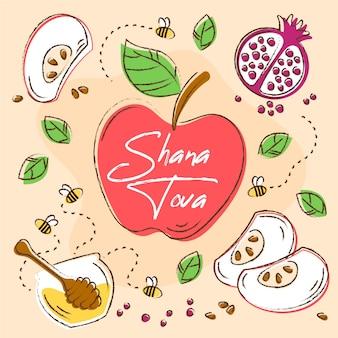 Hand getekende shana tova en groenten