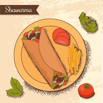 Hand getekende shoarma illustratie