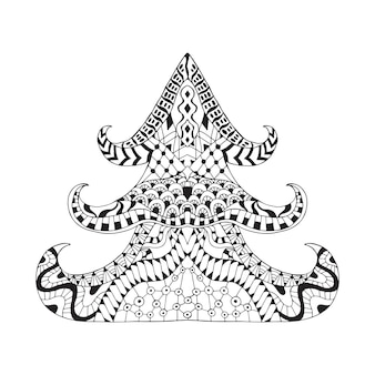 Hand getekende sier kerstboom in doodle stijl.