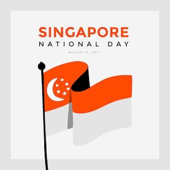 Hand getekende singapore nationale feestdag illustratie