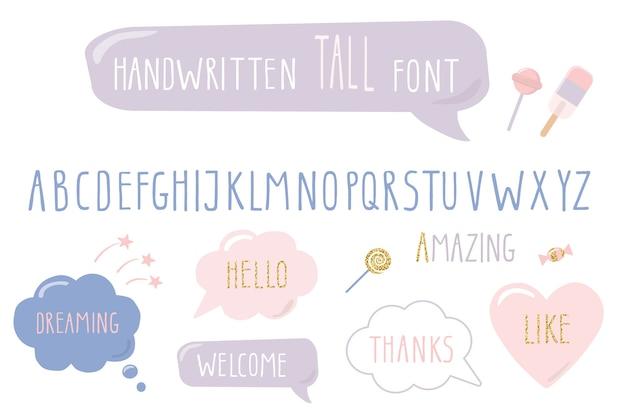 Hand getekende smalle lettertype
