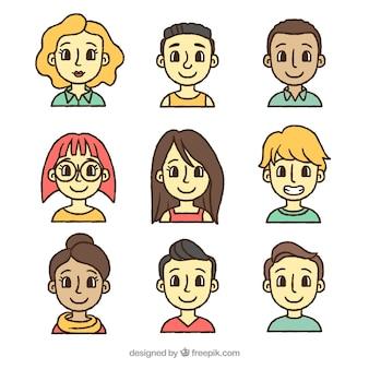 Hand getekende smiley avatars