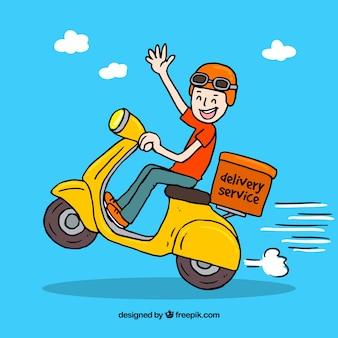 Hand getekende smiley deliveryman