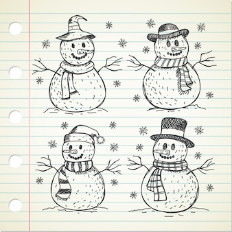Hand getekende snowmans doodle set