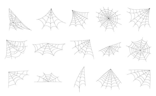 Hand getekende spinnenweb lijn kunst schets stijl spinnenweb elementen spooky eng afbeelding halloween