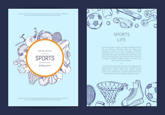 Hand getekende sportartikelen winkel folder sjabloon