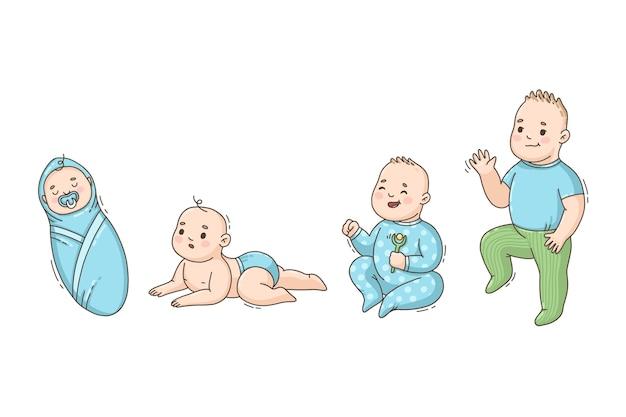 Hand getekende stadia van een babyjongen