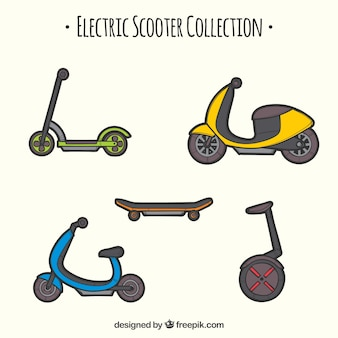 Hand getekende stedelijke scooter collectie