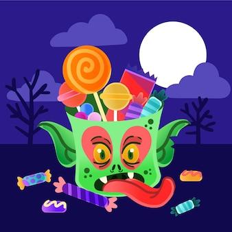 Hand getekende stijl halloween monster tas