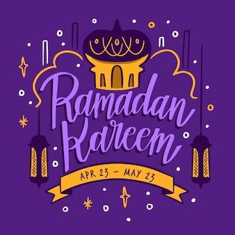 Hand getekende stijl ramadan kareem
