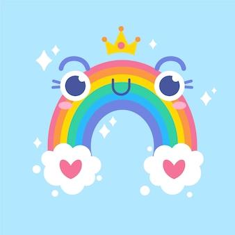Hand getekende stijl regenboog