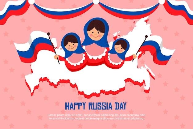 Hand getekende stijl rusland dag