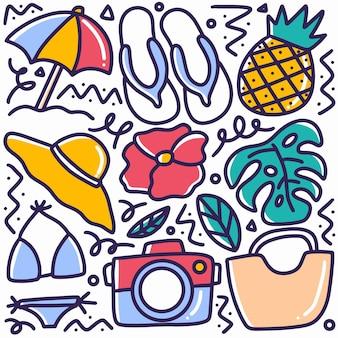 Hand getekende strandspullen doodle met design iconen en elementen