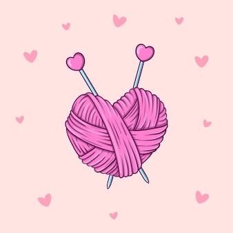 Hand getekende streng van garen in hartvorm met breinaalden in doodle stijl op roze achtergrond met hartjes