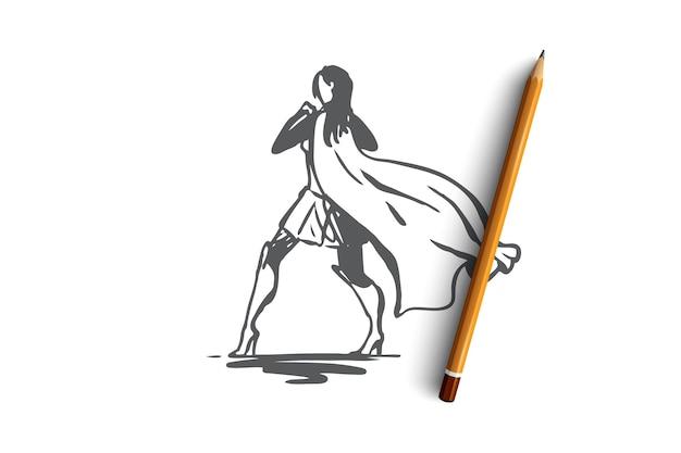 Hand getekende succesvolle en vertrouwen zakenvrouw concept schets