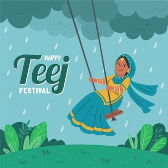 Hand getekende teej festival illustratie