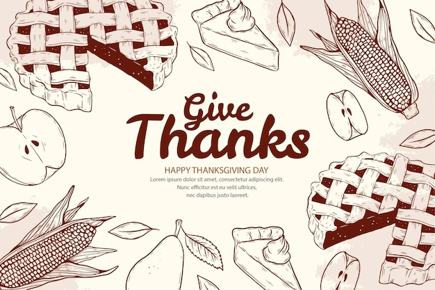 Hand getekende thanksgiving achtergrond