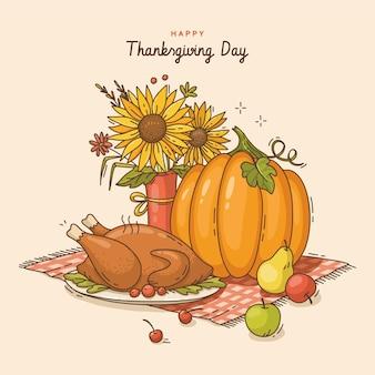 Hand getekende thanksgiving illustratie
