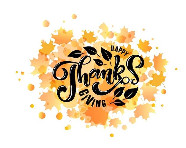 Hand getekende thanksgiving typografie poster. viering citaat