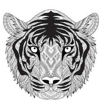 Hand getekende tijgerachtergrond
