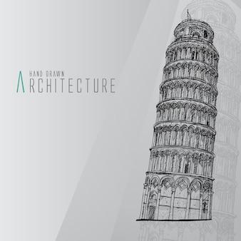 Hand getekende toren van pisa