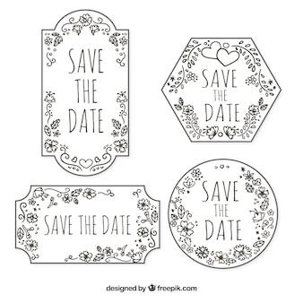 Hand getekende trouwlabels met vintage stijl