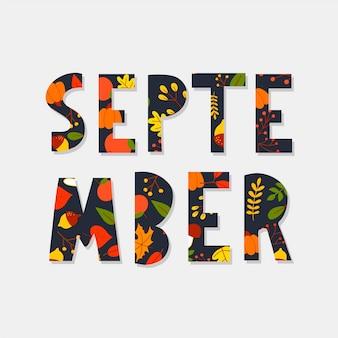 Hand getekende typografie belettering zin hallo september geïsoleerd op de witte achtergrond met gouden ...