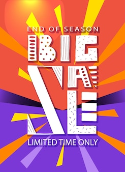 Hand getekende typografie poster grote verkoop banner op kleurrijke achtergrond verkoop achtergrond grote verkoop