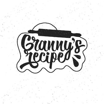 Hand getekende typografie poster. inspirerende vectortypografie. oma's recept. vector kalligrafie.