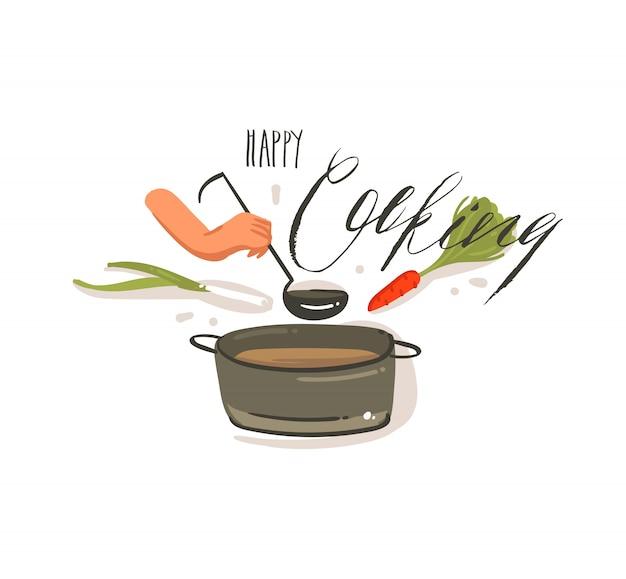 Hand getekende vector abstracte cartoon koken illustraties label met grote pan crème soep, groenten en vrouw handen met lepel geïsoleerd op een witte achtergrond.