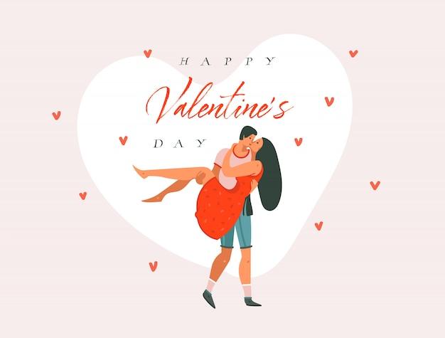 Hand getekende vector abstracte cartoon moderne grafische happy valentines concept illustraties kunst kaart met paar mensen dansen samen en happy valentines day tekst geïsoleerd op roze pastel achtergrond