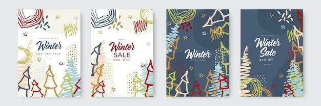 Hand getekende vector abstracte leuke winter verkoop merry christmas illustraties wenskaarten sjabloon en...