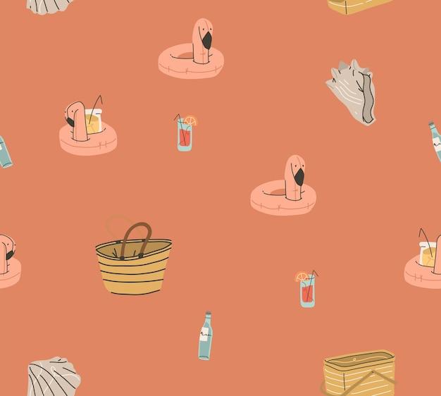 Hand getekende vector abstracte voorraad grafische zomer tekenfilm, creatieve moderne minimalistische illustratie naadloze patroon met boho flamingo cocktails ringsand schelpen, geïsoleerd op een achtergrond met kleur.