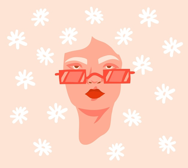 Hand getekende vector abstracte voorraad platte grafische afbeelding afdrukken met retro vintage groovy hippie 60s, 70s boho moderne vrouwelijke portret met madeliefjebloemen in haar haar geïsoleerd op kleur backhround.