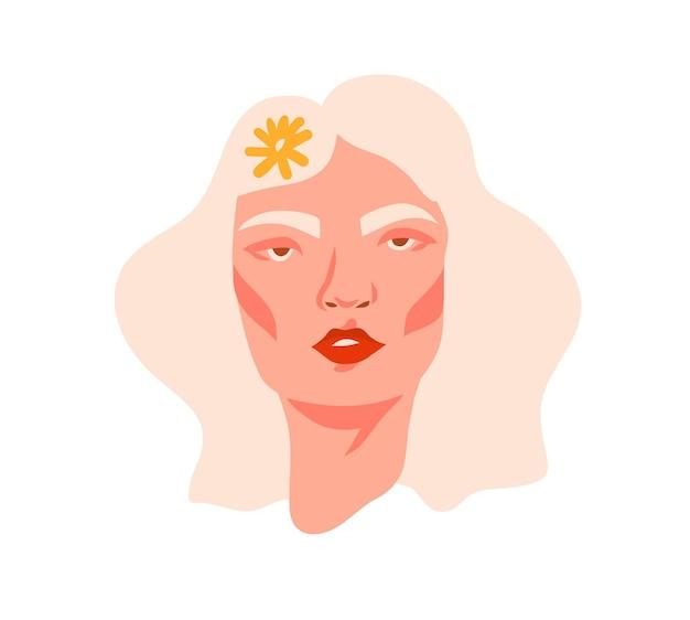 Hand getekende vector abstracte voorraad platte grafische afbeelding afdrukken met retro vintage groovy hippie 60s, 70s boho moderne vrouwelijke portret met madeliefjebloemen in haar haar geïsoleerd op witte backhround.